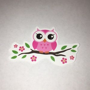 Other - Pink Owl on a Branch Sticker